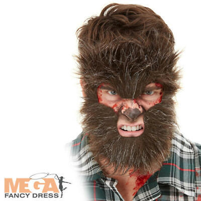 Wolf Halloween Makeup Man (Werewolf Face Fur Mens Fancy Dress Scary Halloween Wolf Animal Costume Make Up)