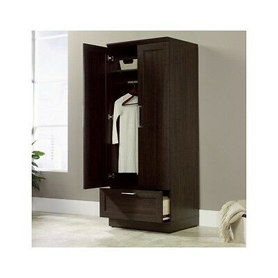 Tall Wardrobe Armoire Storage Closet Wooden Bedroom ...