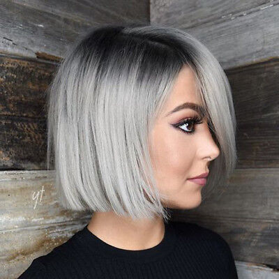 Grey Wig Costume (Ombre Grey Short Bob Straight Wig Synthetic Women Costume Heat Resistant Wigs)