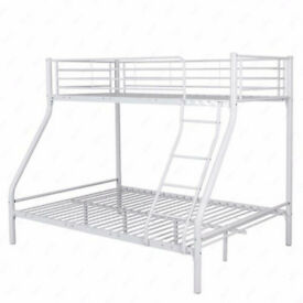 white double and single metal bunkbeds