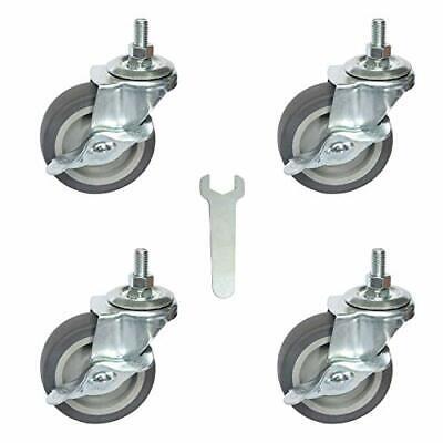3 Swivel Caster Wheels 4 Pack 516-18 X 1 Threaded Stem Mount Dust