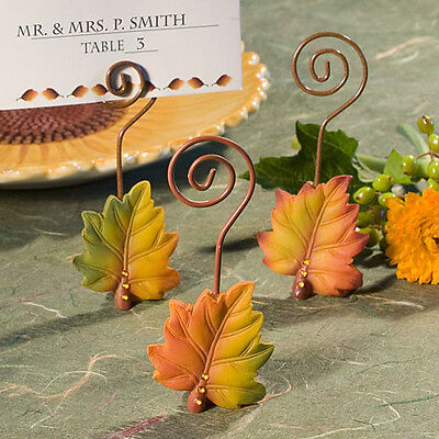1 Leaf Design Fall Autumn Themed Place Card Holder Wedding Reception Favor Party - Fall Themed Wedding