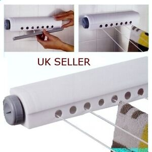 New Wall Mounted Indoor Washing Clothes Laundry 4 line Airer Dryer Retractable