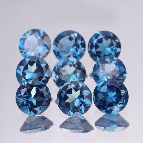 6mm Wholesale Lot AAA Round Natural Gem Brazil London Blue Topaz [FLAWLESS-VVS]