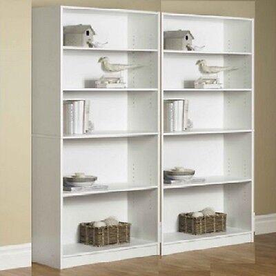 Bookcase Storage Wide Bookshelf 5 Shelf Adjustable Furniture Wood Shelving 2 Set