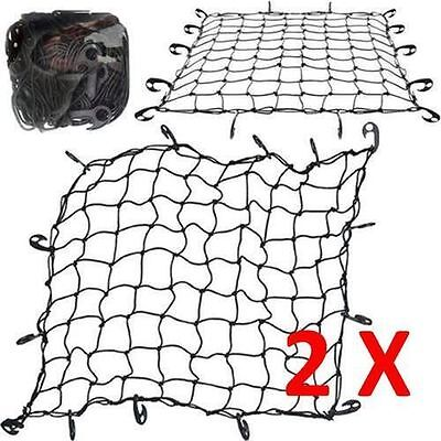2X LARGE CARGO NET CAR VAN TRUCK TRAILER 12 HOOKS BUNGEE CORD ATV RACKS NETS