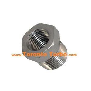 Stainless 1/2 NPT to 3/8 NPT bushing reducer for turbo