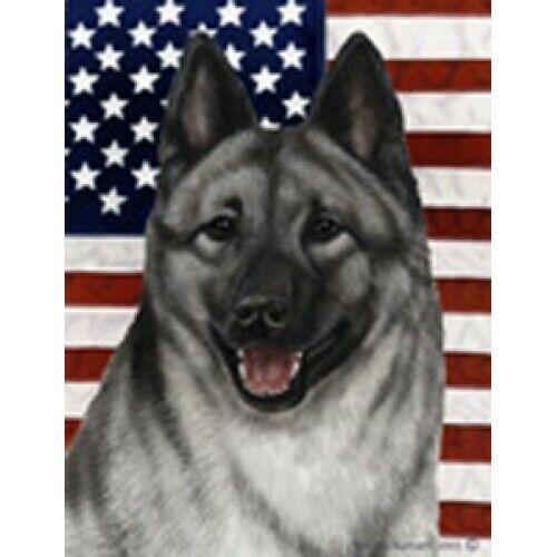 Patriotic (D2) House Flag - Norwegian Elkhound 32403