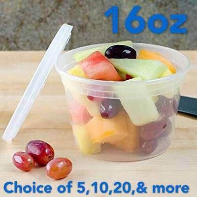 16oz Heavy Duty Round Deli Food/Soup Plastic Containers w/ Lids BPA free Heavy Duty Containers