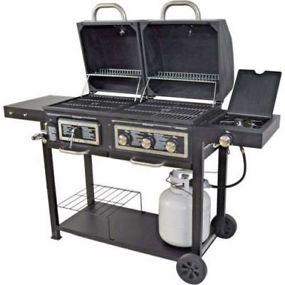 Combination Gas Grill - BBQ Gas and Charcoal Grill Dual Fuel Combination Portable Barbecue Outdoor Cook