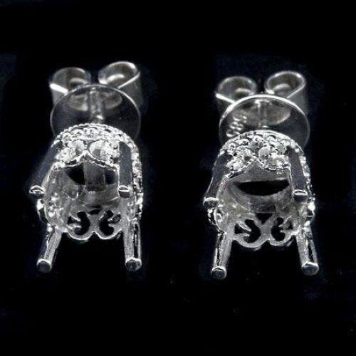 14K STUD VINTAGE FILIGREE EARRINGS MOUNTINGS SETTINGS WHITE GOLD 1CT 2CT 6MM 7MM