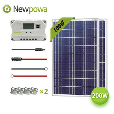 NewPowa 200W Watt Solar Panel 12V System Controller Mounts M