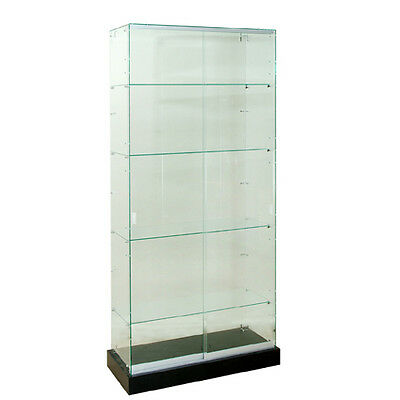 Frameless Tempered Glass Tower Trophy Case 72 H X 36 W - New York Pickup Only