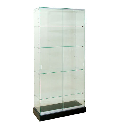 "Frameless Tempered Glass Tower Trophy Case 72"" H x 36"" W - New York PICKUP ONLY"