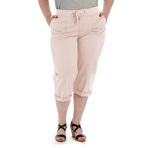 lee relaxed fit comfort waist oleander pink cargo capris womens plus size 24w
