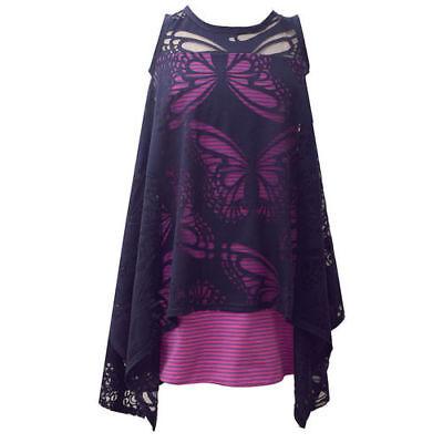 BONNIE JEAN Mädchen Kleid Tunika BUTTERFLY B39956-DV Jerseykleid Vokuhila NEU ()