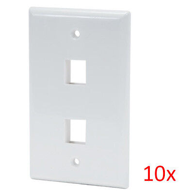 10pcs White 2-Port  (Dual Port) Wall Plate For RJ45 RJ11 RJ12 Keystone Jack Dual-port-wall Plate