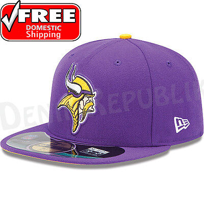 New Era 5950 MINNESOTA VIKINGS NFL On Field Game Cap Purple Fitted Hat 59FIFTY - Field 59fifty 5950 Game Cap