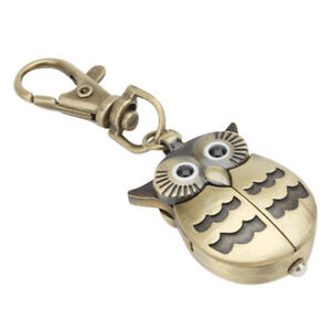 Night-Owl-Keychain-Ring-Watch-For-Men-Women-Pocket-Sport-Analog-Quartz-Antique