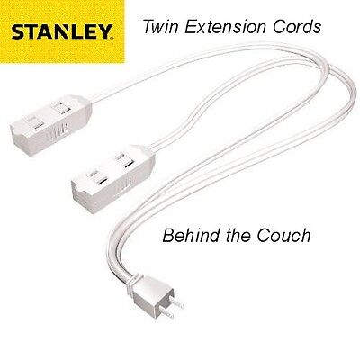 Stanley CordMax Behind Couch & Beds Polarized Twin Indoor Extension Cord