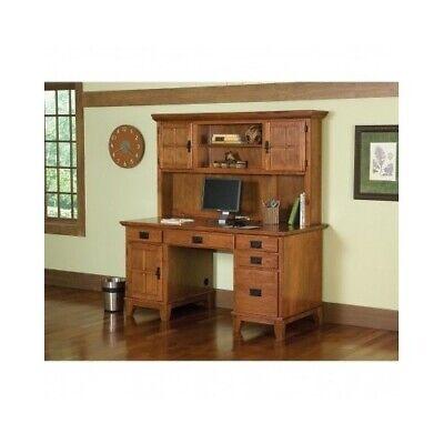 Arts and Crafts Wood Computer Pedestal Desk and Hutch Set Cottage Oak (Country Cottage Desk Hutch)