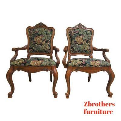 Pair Ethan Allen Tuscany French Carved Dining Room Arm Chairs ()