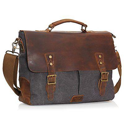 Wowbox Leather Vintage Messenger Bag for 15.6 inch laptops,