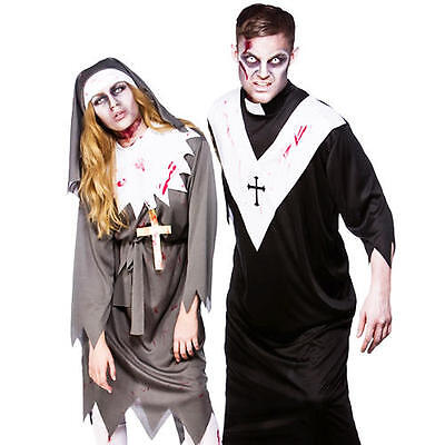 Woman Priest Costume (Scary Zombie Religious Adults Halloween Fancy Dress Priest Nun Costume Outfit)