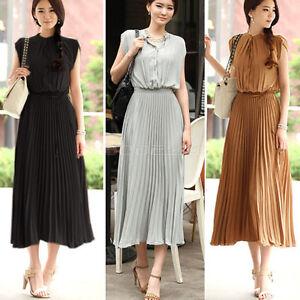 Fashion-Vintage-Womens-Boho-Chiffon-Sleeveless-Ruched-Pleated-Maxi-Long-Dress