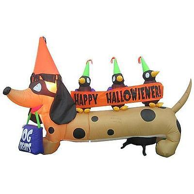 HALLOWEEN DACHSHUND WEINER DOG WEENIE HOT DOG  INFLATABLE AIRBLOWN  GEMMY 6 FEET (Halloween Weiner Dog)
