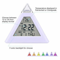 Digital Pyramid LCD Alarm Clock 7 LED Color Changing Light w/Thermometer