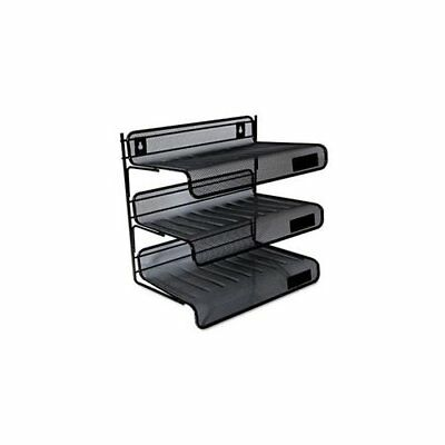 Universal Office Products 20006 Mesh Three-tier Desk Shelf Letter Black