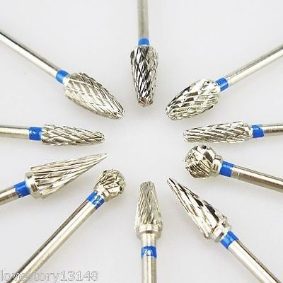 10 Pcs Tungsten Carbide Tungsten Steel Dental Burs Lab Burs Tooth Drill 2.3mm