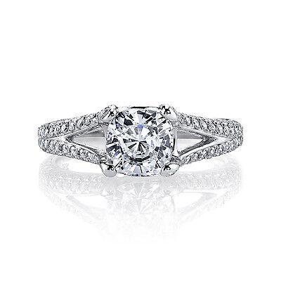 4.07 Ct Cushion Cut Natural Diamond Split Shank Plat Engagement Ring J,VS2 GIA 1