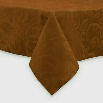 """Thanksgiving Fall Fabric Damask 90"""" Rd Tablecloth Bronze with 8 Matching Napkins"""
