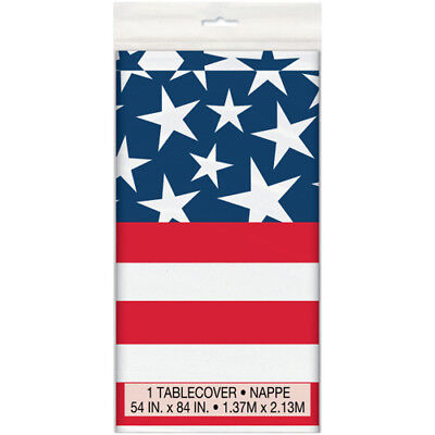 4th of JULY Stars and Stripes PLASTIC TABLE COVER ~ Birthday Party Supplies (Birthday Stars Table Cover)