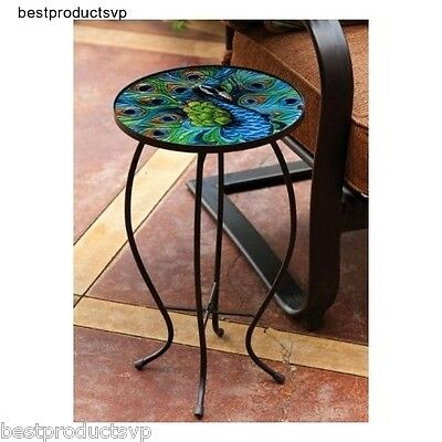 Round Metal Side Table End Glass Chairside Outdoor Bistro Display Plant Coffee - Metal Display Table