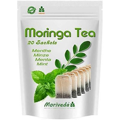 Moringa Dip Tee 20 Beutel - Minze - 100% Vegan, Oleifera MoriVeda Qualität
