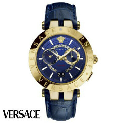 Versace VEBV00219 V-Race gold blue Leather Men's Watch NEW