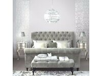 SILVER, GREY OR BLACK CRUSHED VELVET CHESTERFIELD UPHOLSTERED STUDDED BED FRAME