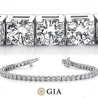 15 ct Round Diamond Tennis Bracelet 18k White Gold 33 x 0.45-0.47 ct GIA E-F VS
