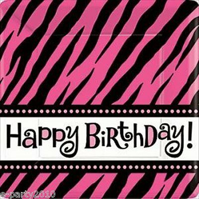 ZEBRA STRIPES Pink and Black SMALL PAPER PLATES (8) ~ Birthday Party Supplies