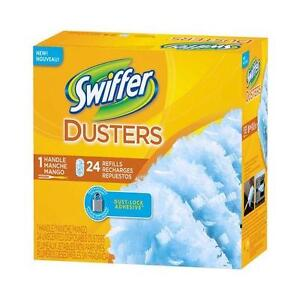 NEW IN BOX SWIFFER DUSTER REFILLS + HANDLE BIG 24 COUNT