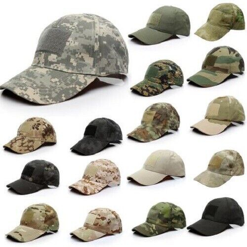 SPECIAL FORCES OPERATOR TACTICAL MILITARY CAMO CAP PATCH HAT WITH PATCH PANEL Clothing, Shoes & Accessories