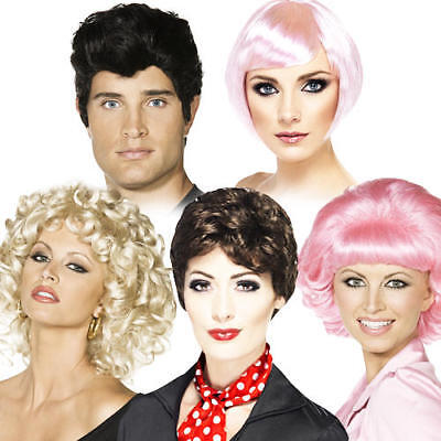 Mens Movie Character Costumes (Grease Movie Character Wigs Adults Fancy Dress 50s Fifties Ladies Mens)