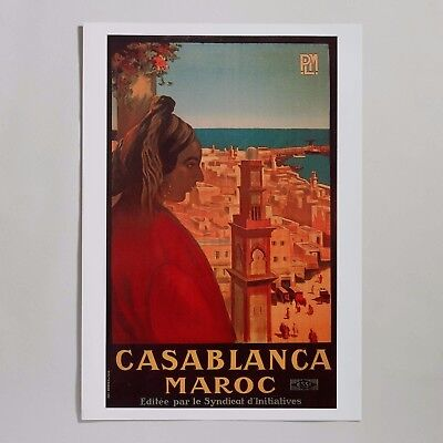 """VINTAGE 27"""" x 19"""" CASABLANCA MOROCCO POSTER QUALITY FRANCE PRINTED  1930'S STYLE"""