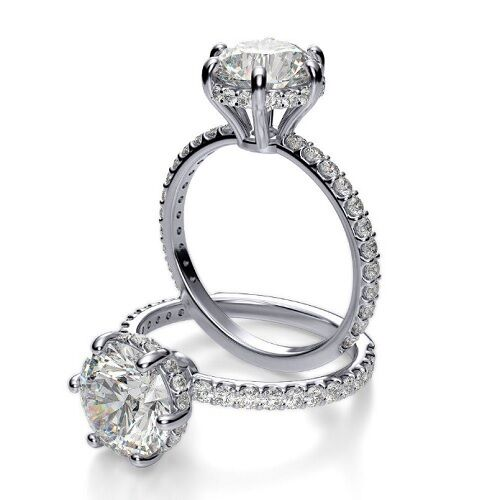 1.60 ct. Natural Round Cut U-Pave Under Halo Diamond Engagement Ring GIA F, VS2