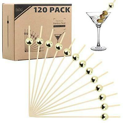 Bamboo Cocktail Picks Skewers Toothpicks - 120 Pack Gold Pearl 4.75 inch Wooden
