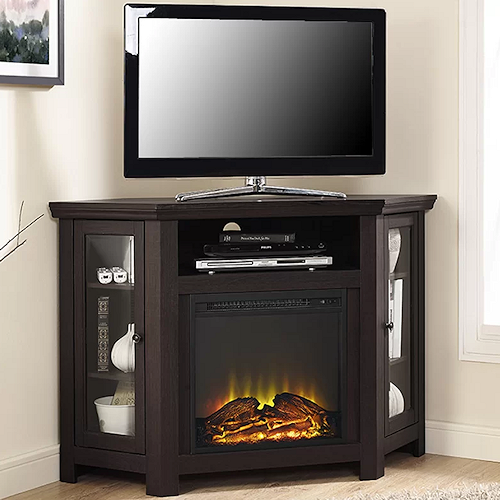 electric corner fireplace tv stand espresso media