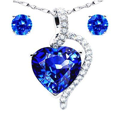 925 Sterling Silver Heart Cut Created Blue Sapphire Pendant Necklace & Earrings